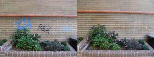 limpieza de grafittis sobre ladrillo